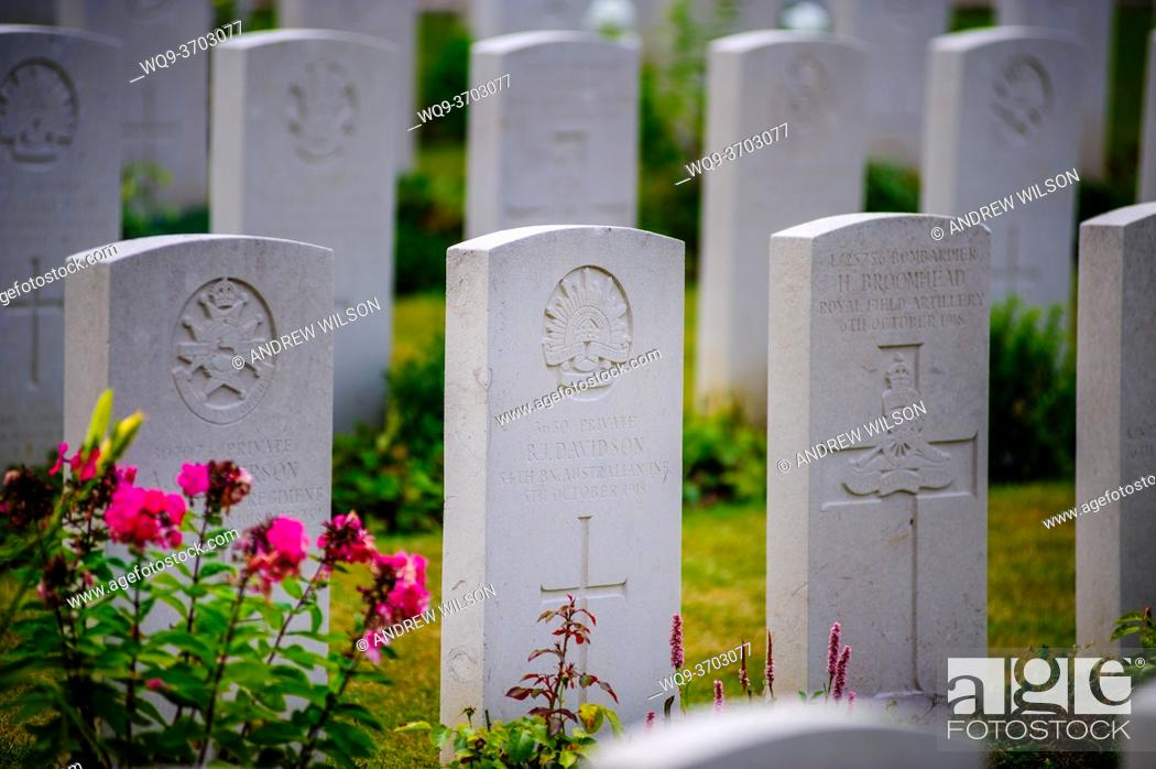 Stock Photo: War Graves in the Military Cemetary, Tourgeville, Normandy, France.
