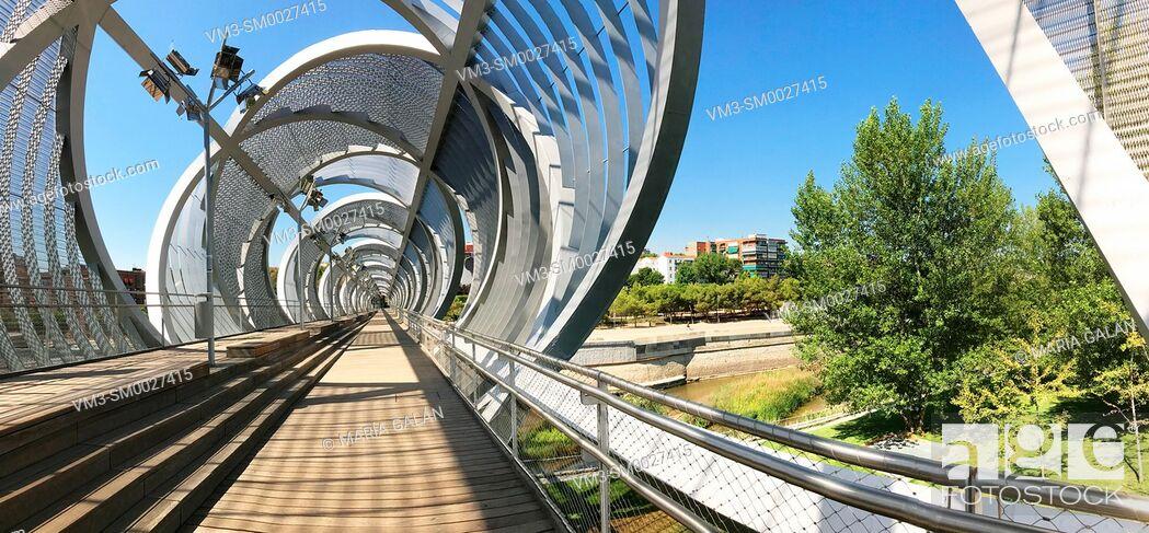 Stock Photo: Bridge by Perrault, panoramic view. Madrid Rio park, Madrid, Spain.