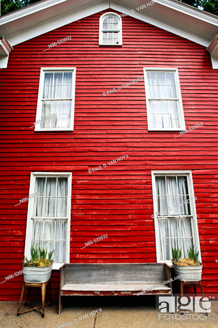 Stock Photo: Red historic building in New Harmony. Indiana, USA.
