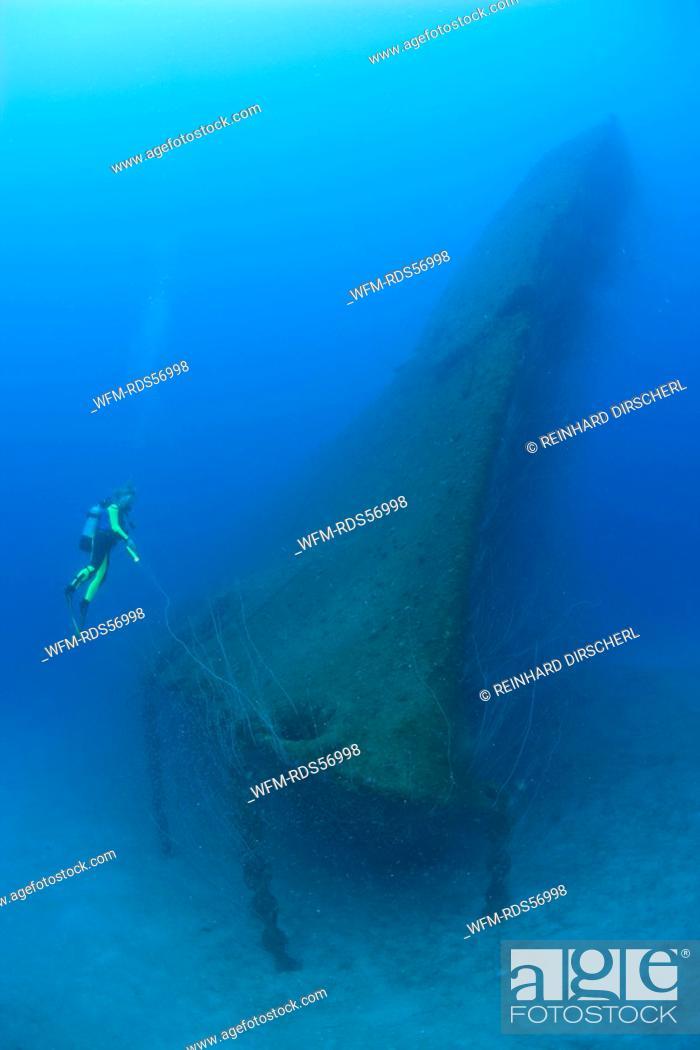 Stock Photo: Diver at Bow of USS Arkansas Battleship, Bikini Atoll, Micronesia, Pacific Ocean, Marshall Islands.