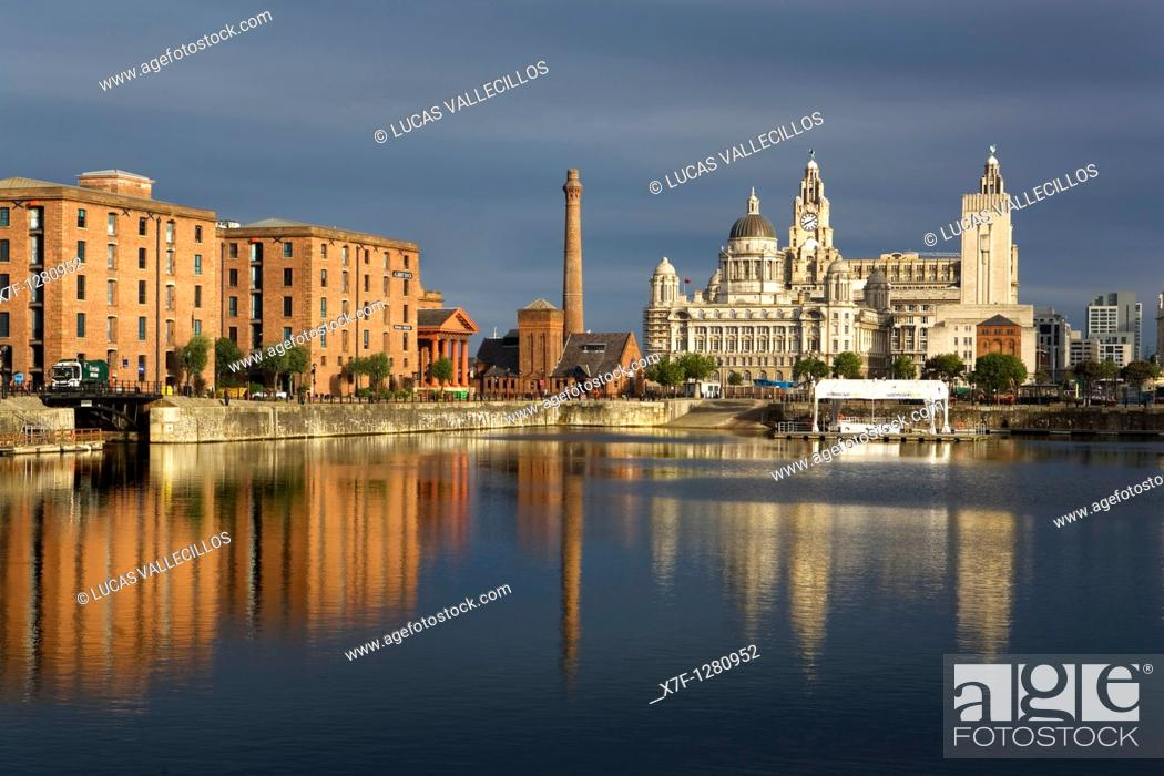 Stock Photo: Salthouse Dock  To the right the three graces of Pier Head the Royal Liver Building, The Cunard Building and the Port of Liverpool Building  To the left Albert.