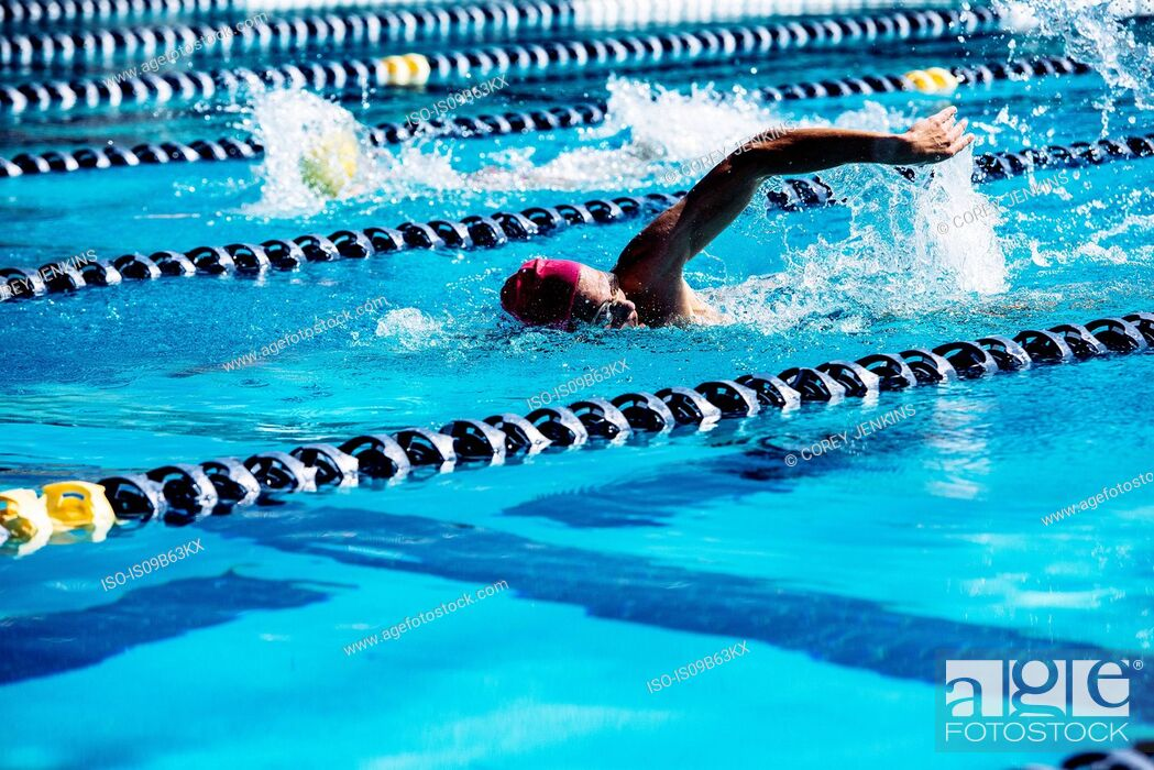 Stock Photo: Swimmer doing freestyle in lane.