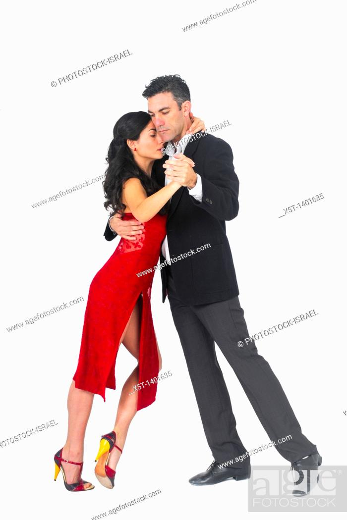 Stock Photo: Couple dances tango On white Background.