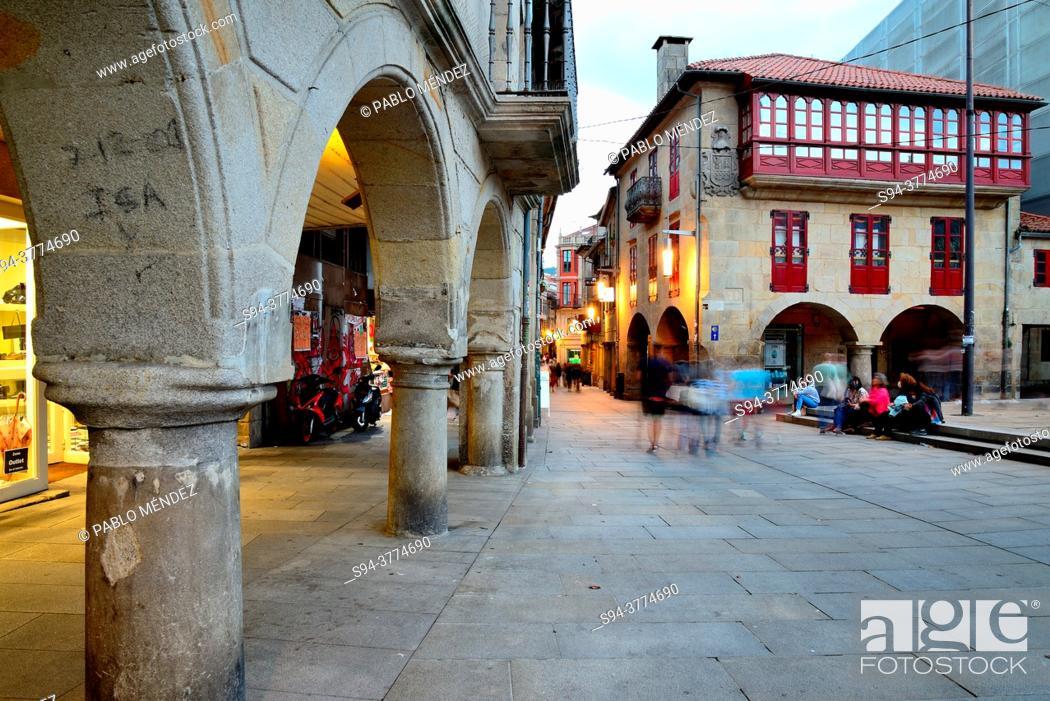Stock Photo: Arcade in old city of Pontevedra, Spain.