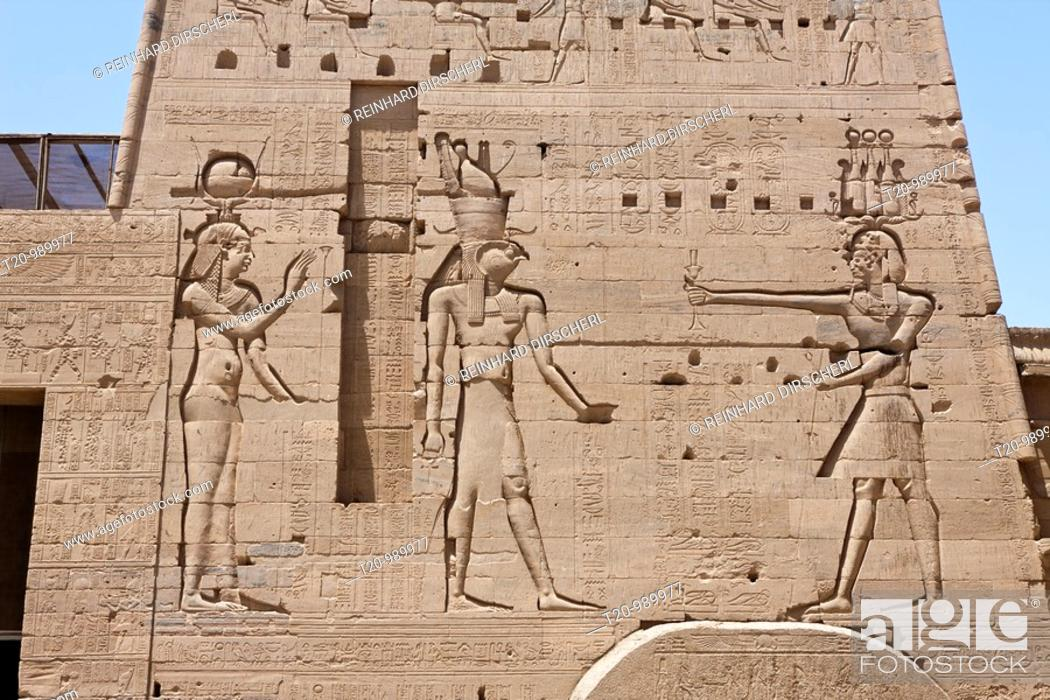 Stock Photo: Reliefs at Temple of Isis on Philae Island, Aswan, Egypt.