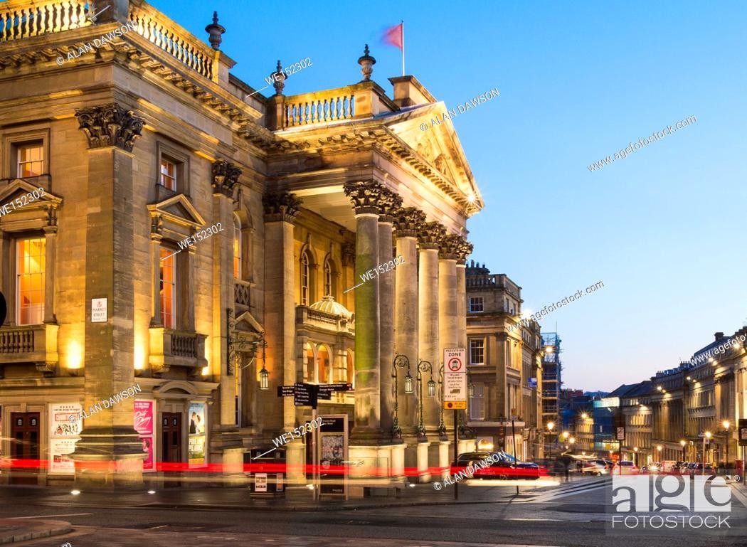 Stock Photo: Theatre Royal on Grey Street in Newcastle upon Tyne, England, United Kingdom. Europe, .