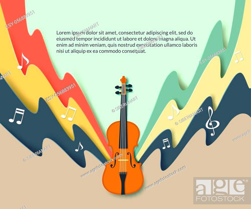 Stock Vector: Violin classical music concert poster template, vector illustration in paper art modern craft style.