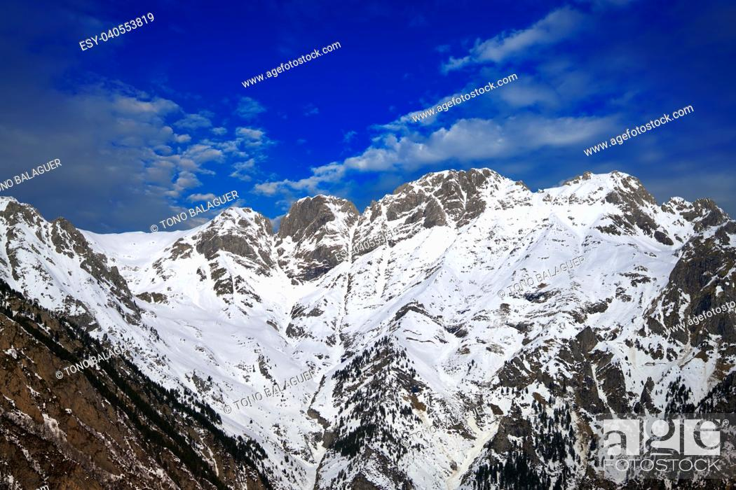 Stock Photo: Benasque and Cerler mountains in Pyrenees of Huesca in Spain.