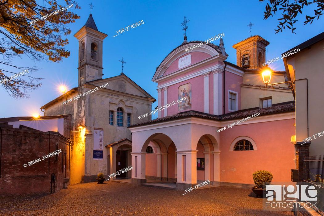 Stock Photo: Twilight over the Biblioteca Marchionale and Chiesa di Barolo, Barolo, Piemonte, Italy.