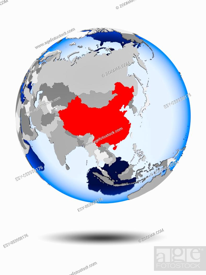 Stock Photo: China on political globe with shadow and translucent oceans isolated on white background. 3D illustration.