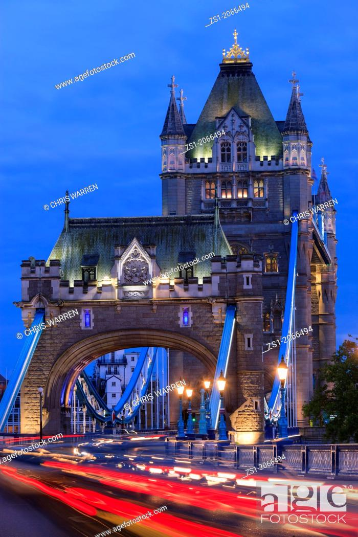 Stock Photo: Tower Bridge London England at twilight.
