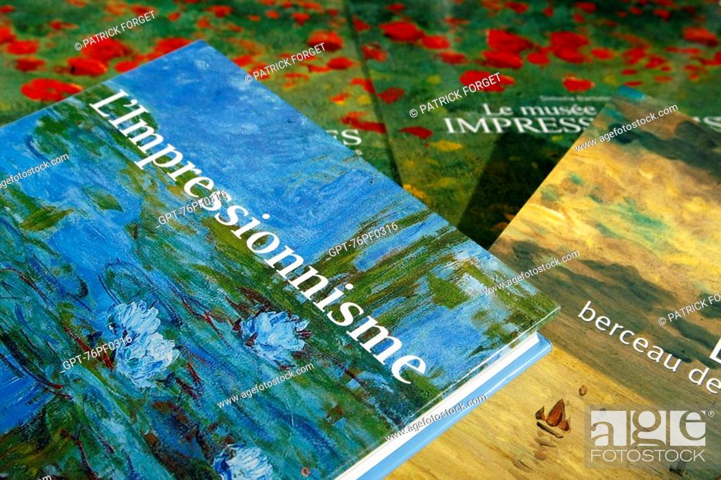 Stock Photo: BOOK ON THE IMPRESSIONIST PAINTERS IN THE SEINE-MARITIME, NORMANDY, FRANCE BOUDIN, MONET..., INDEPENDENT BOOKSTORE 'LA GALERNE', LE HAVRE, SEINE-MARITIME 76.