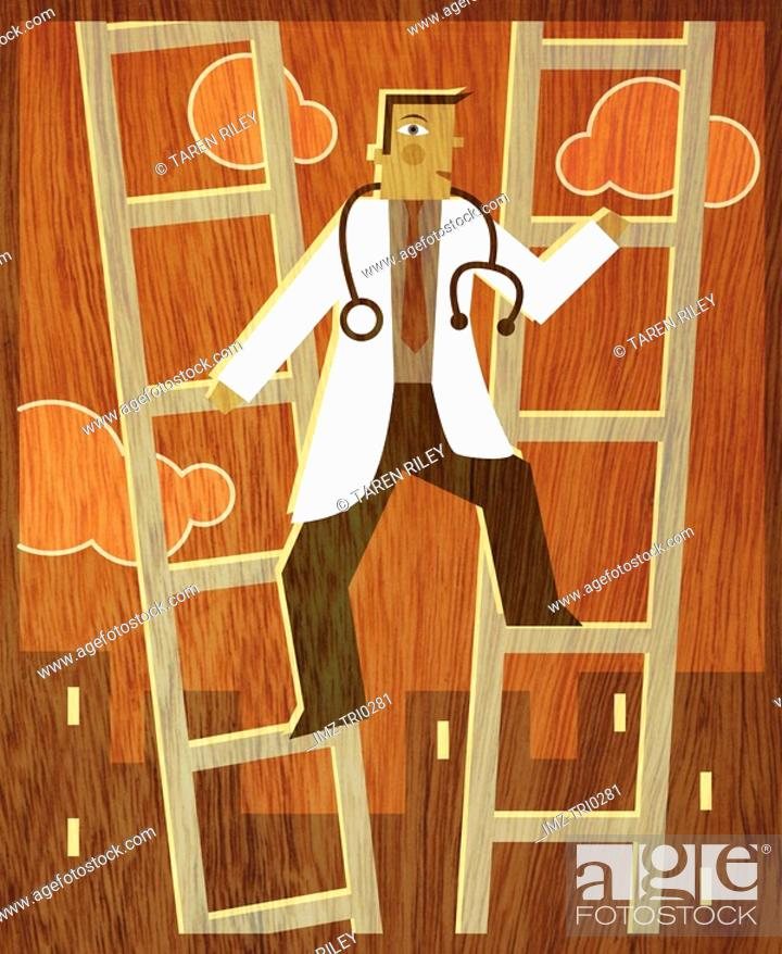 Stock Photo: A doctor climbing up between two ladders.