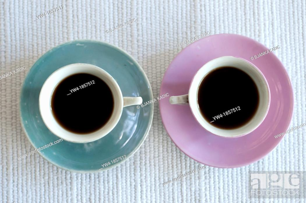 Stock Photo: Two cups of black coffee.