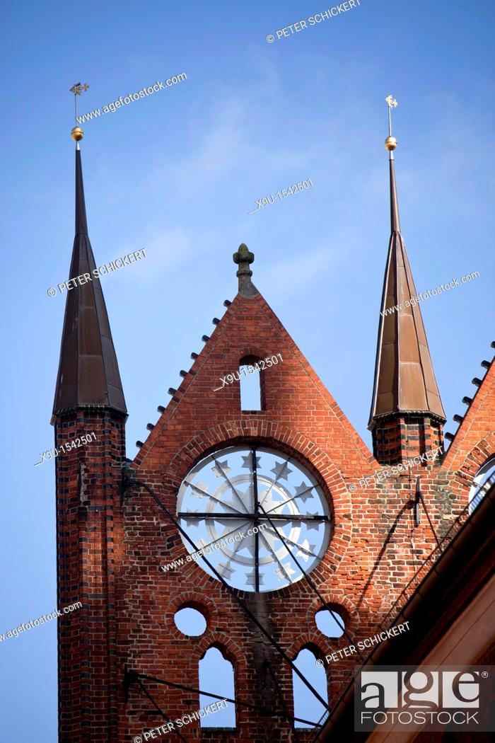 Stock Photo: typical gable detail of the Gothic Town Hall in the Hanseatic City of Stralsund, Mecklenburg-Vorpommern, Germany.