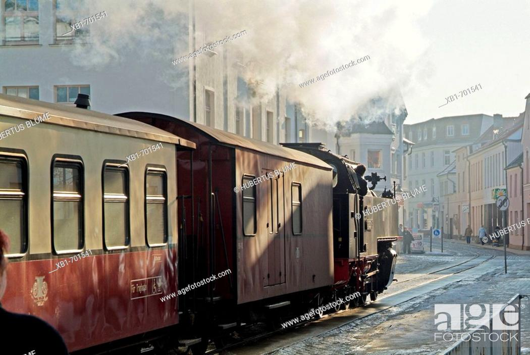 Stock Photo: Germany, Mecklenburg-Western Pomerania, Bad Doberan; historic train Molly in wintertime.