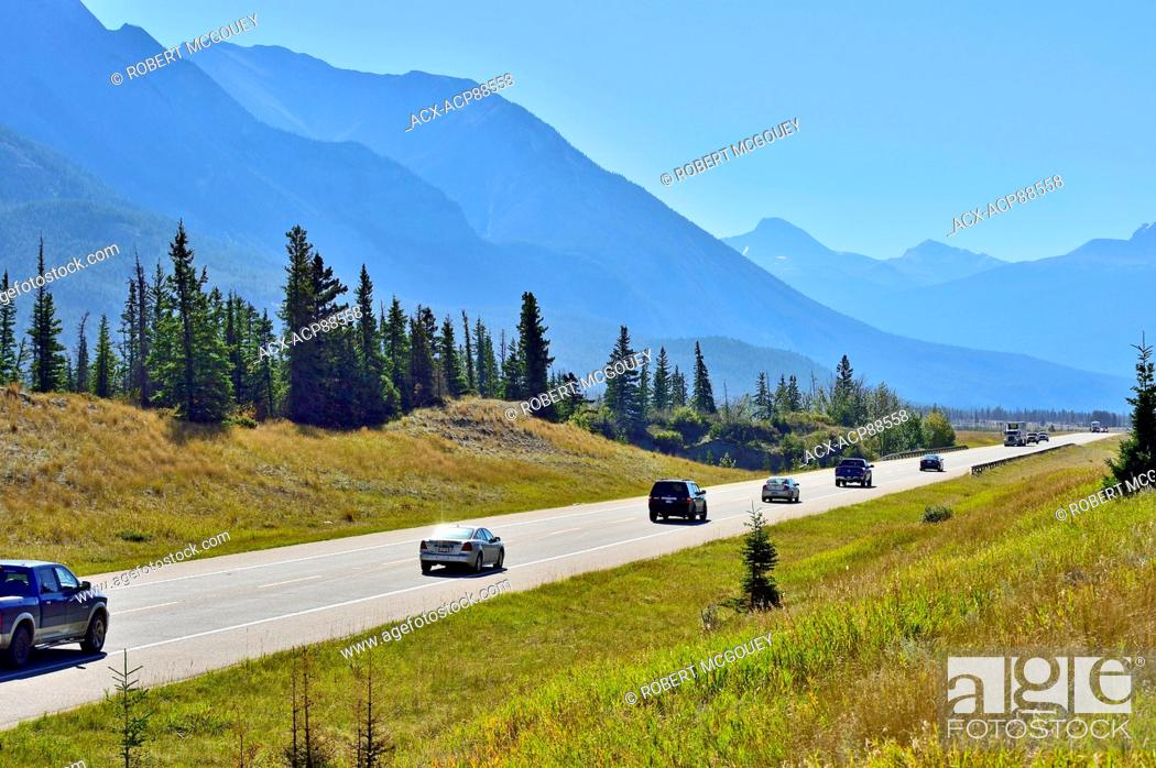A view of vehicles traveling on Alberta's highway 16 as it