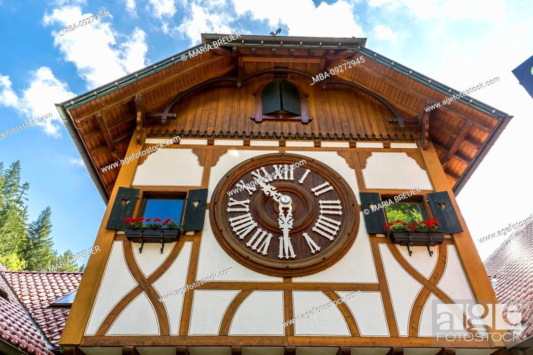 Stock Photo: World's largest cuckoo clock, watch park Eble, Triberg, Black Forest, Baden-Wurttemberg, Germany.