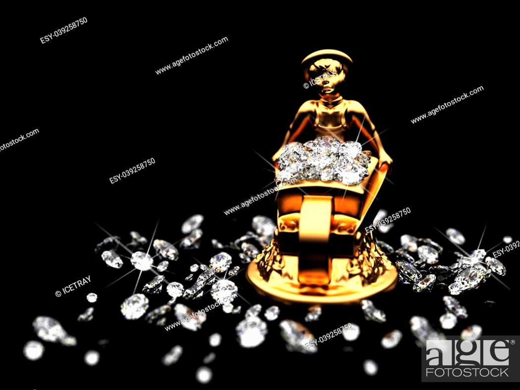 Stock Photo: a lot of diamonds and golden statuette made in 3D.