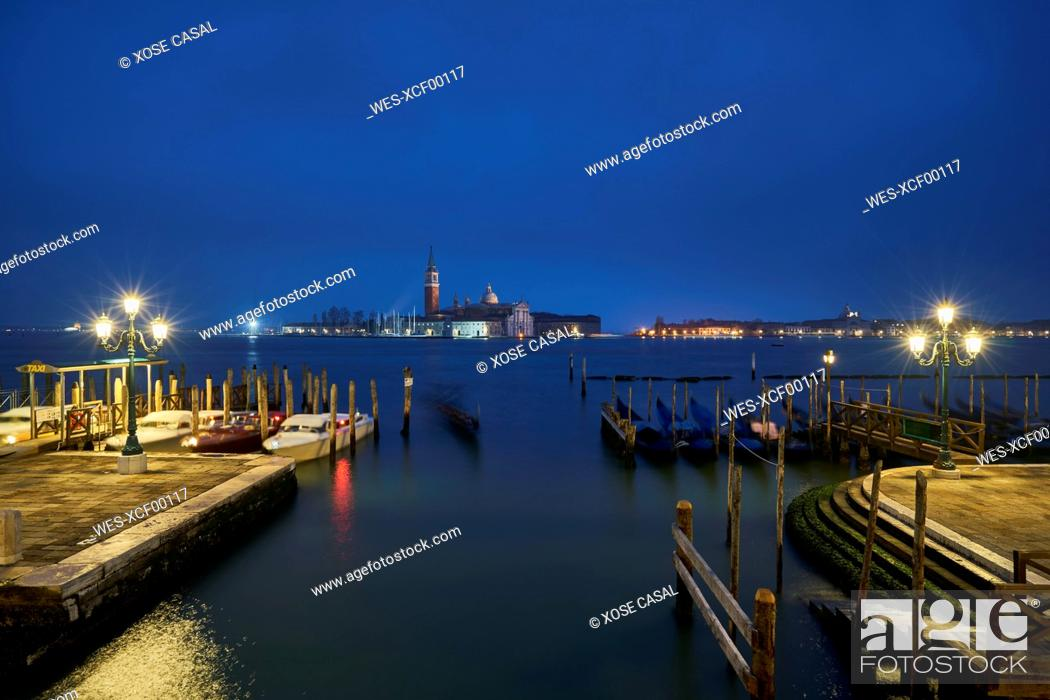 Stock Photo: Italy, Venice, San Giorgio Maggiore as seen from San Marco at twilight.