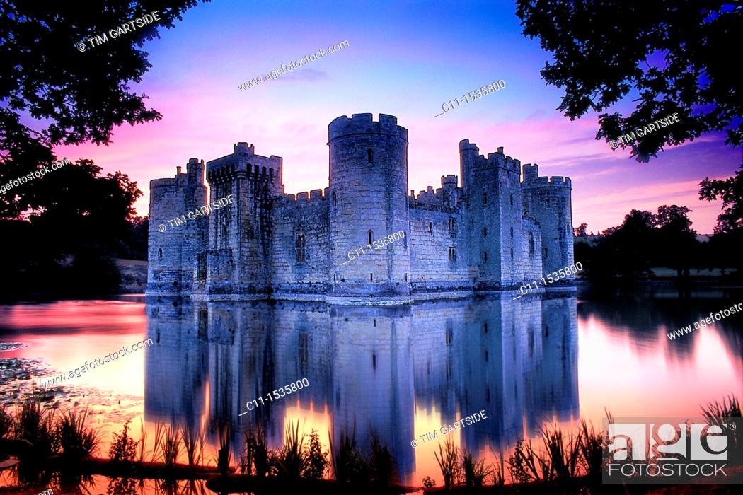 Stock Photo: Bodiam Castle, Sussex, England, UK at sunset.