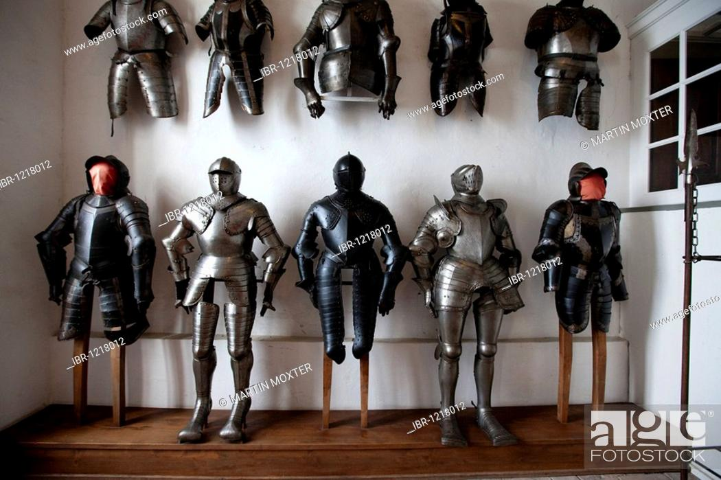 Stock Photo: Knights' armors, Altes Schloss old castle, Meersburg castle, Meersburg on Lake Constance, administrative district of Tuebingen, Bodenseekreis district.