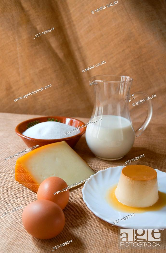 Stock Photo: Cheese creme caramel with ingredients.