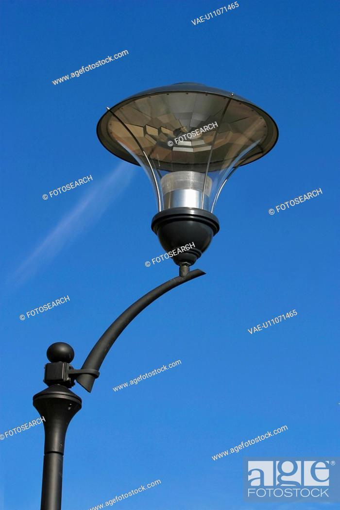 Stock Photo: lamppost, lamp, glass, rod, close-up, clouds.