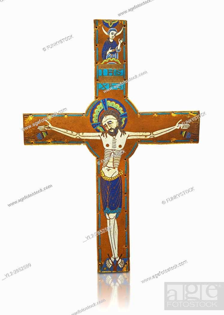 Stock Photo: Medieval enamelled crucifix, circa end of 12th century from Limoges, enamel on gold. AD. Inv OA 2956, The Louvre Museum, Paris.