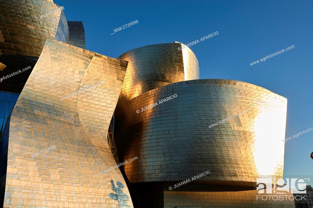 Stock Photo: Detail of the Guggenheim Museum, Bilbao, Biscay, Basque Country, Euskadi, Spain, Europe.