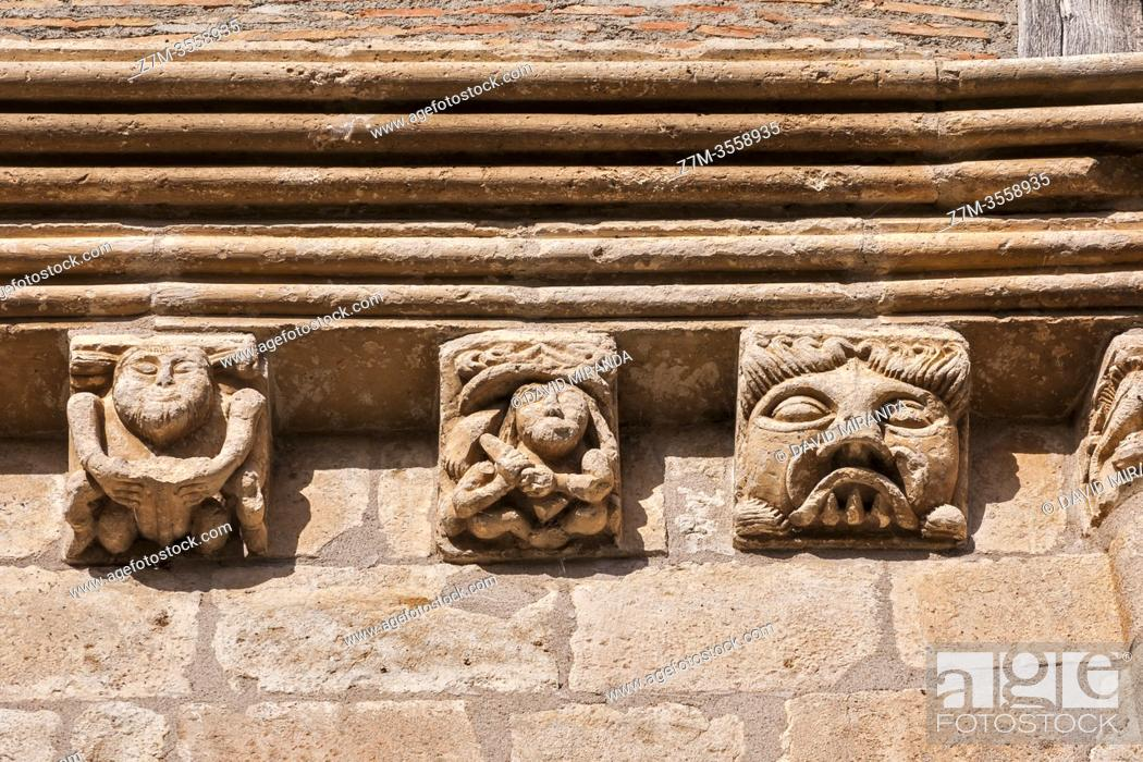 Stock Photo: Canecillos de la Iglesia de la Natividad de Nuestra Señora (Añua). Elburgo. Ã. lava. País Vasco. España.