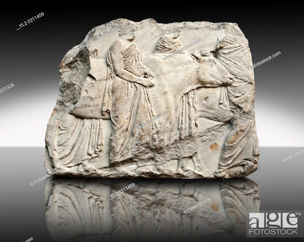 Imagen: Marble Releif Sculptures from the south frieze around the Parthenon Block XLI 122-124. From the Parthenon of the Acropolis Athens.