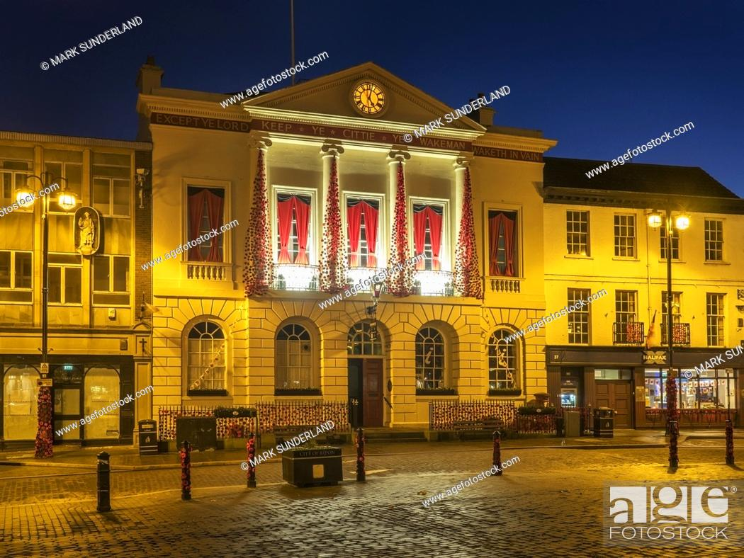 Stock Photo: Ripon Town Hall floodlit ast dusk in the Market Place at Ripon North Yorkshire England.