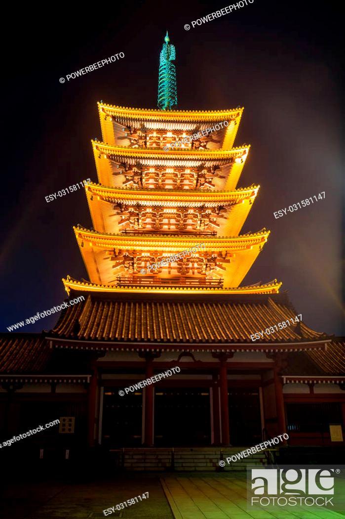 Stock Photo: Five Story Pagoda, Sensoji Temple in nighttime Asakusa, Tokyo, Japan.