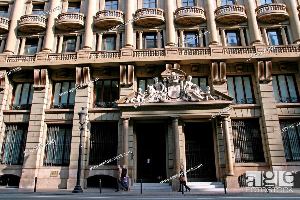Stock Photo: Union building, 1929, architect: Josep Domenech Mansana, Via Layetana, Barcelona, Catalonia, Spain,.