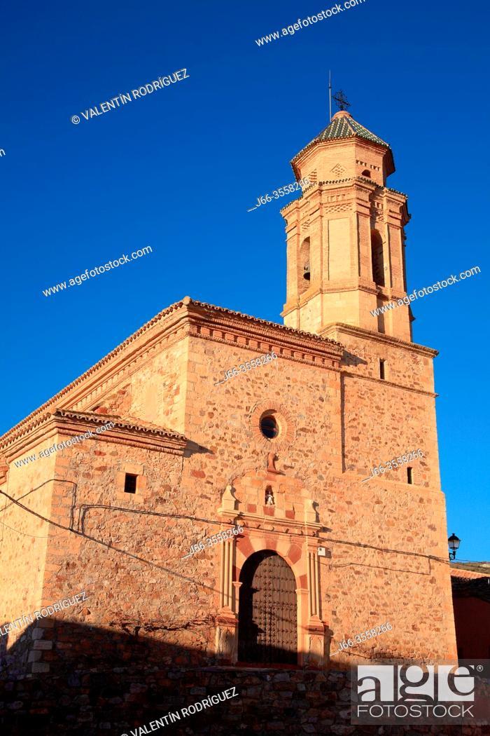 Stock Photo: Virgin of Assumption church in Berrueco. Wildlife reserve of Gallocanta. Zaragoza province. Spain.