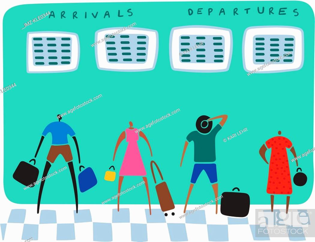 Stock Photo: Travelers with their luggage looking at arrivals and departure boards.