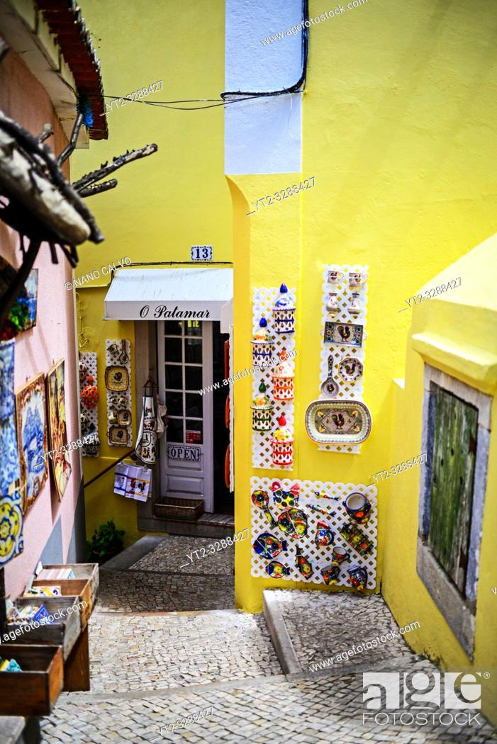 Stock Photo: Craft shops in Sintra, Portugal.