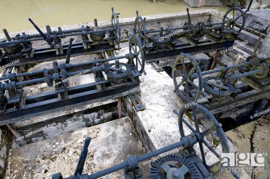 Stock Photo: Irabia reservoir mechanisms, Irati, Navarra, Spain.
