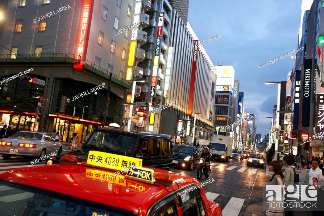 Stock Photo: Ginza, Shopping area, Tokyo, Japan.