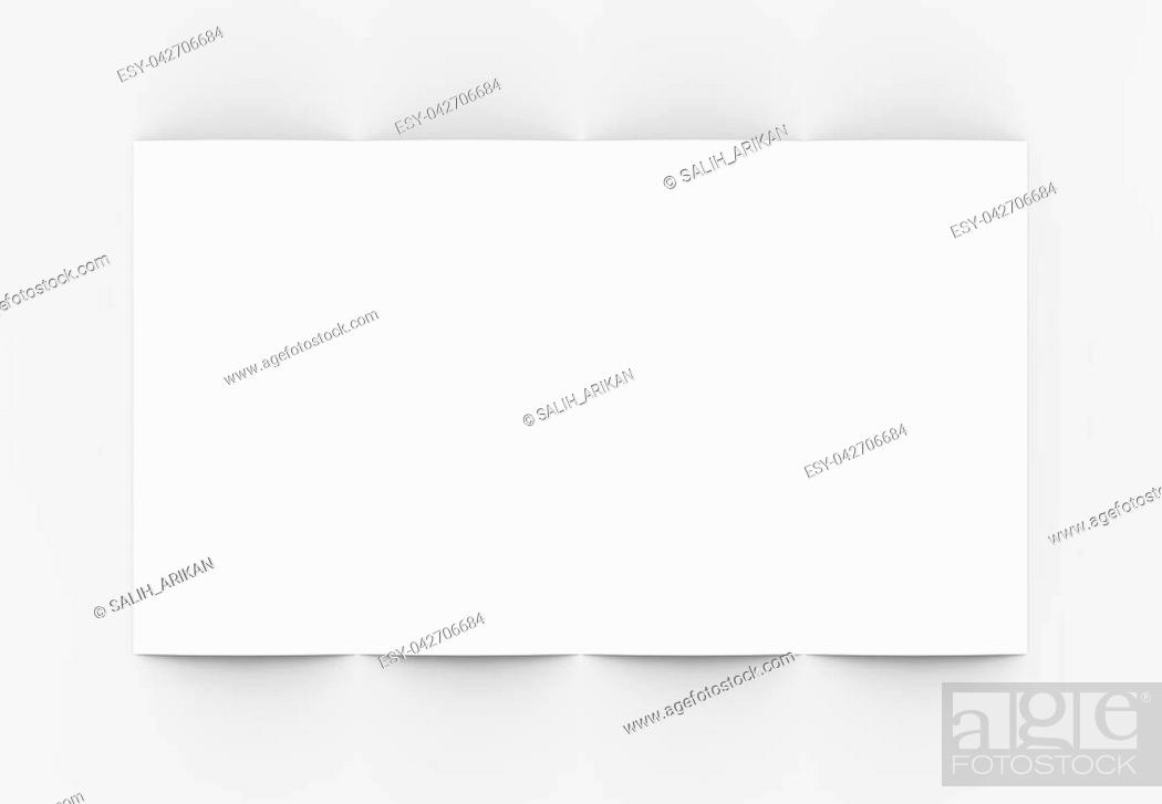 Stock Photo: Four folded - 4-Fold - vertical brochure mock-up isolated on soft gray background. 3D illustrating.
