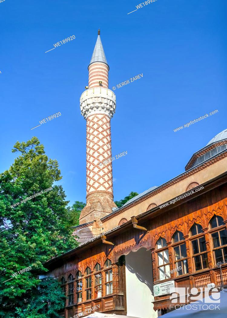 Stock Photo: Dzhumaya Mosque in the Plovdiv downtown, Bulgaria. Big size panoramic view on a sunny summer day.