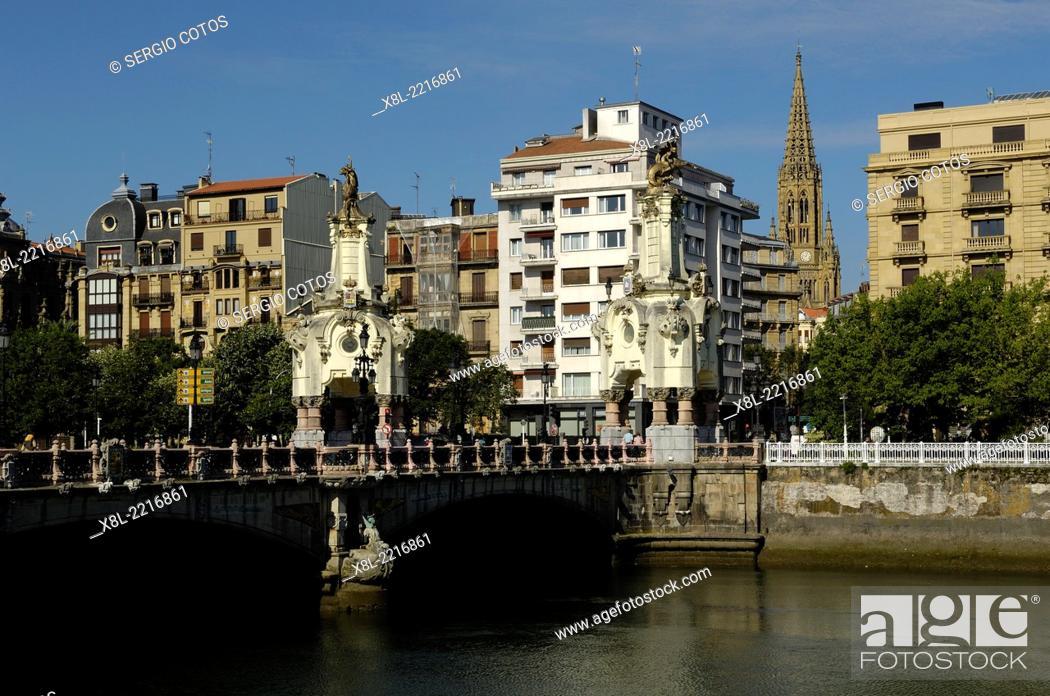 Stock Photo: View from Paseo de Francia, Santa Catalina Bridge, San Sebastian, Basque Country, Spain.