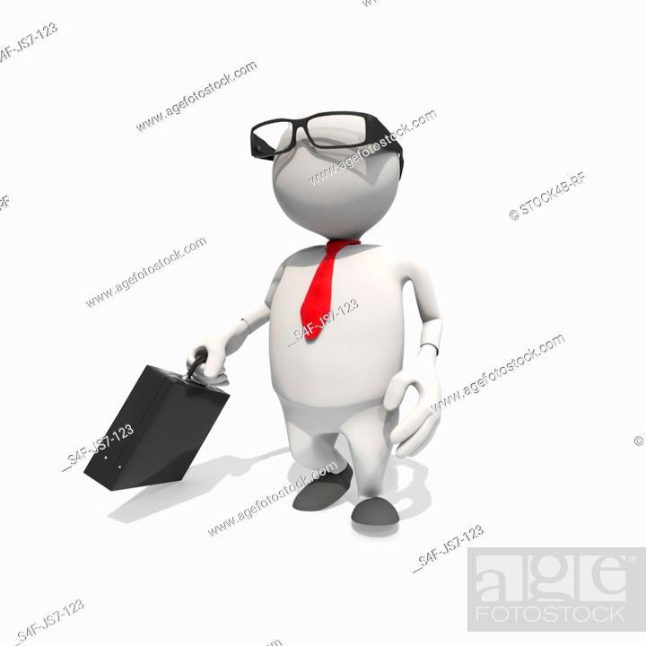 Stock Photo: Anthropomorphic businessman walking, CGI.