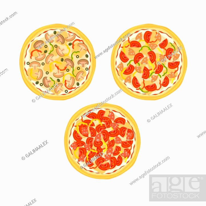 Stock Vector: Three pizzas with tomatoes, mushrooms, sausage and peppers on the plate isolated on white background. Vector illustration.