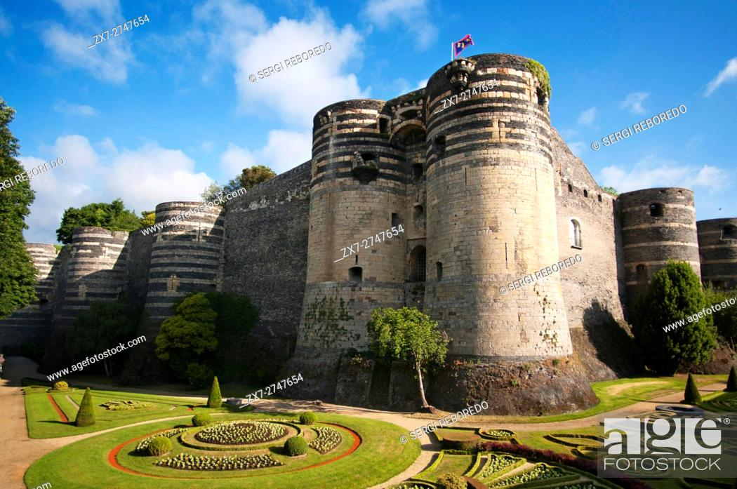 Stock Photo: Castle of Angers in the city of Angers in the Maine et Loire Valley region of France.