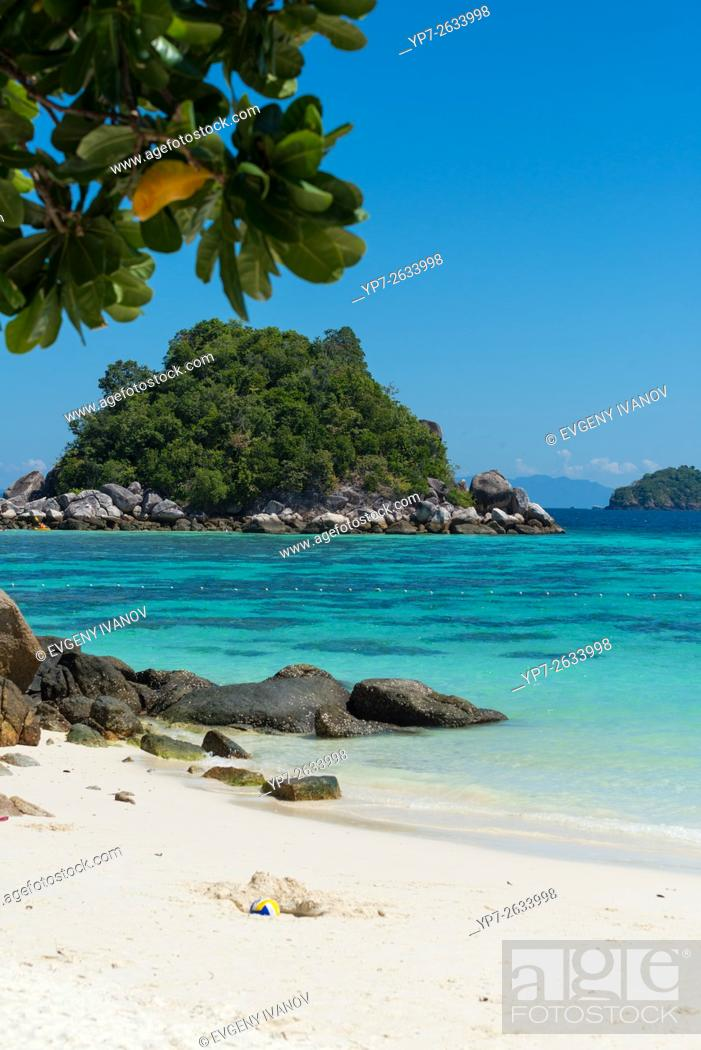 Stock Photo: White sand of Sunrise beach and Andaman sea, Ko Lipe, Thailand.