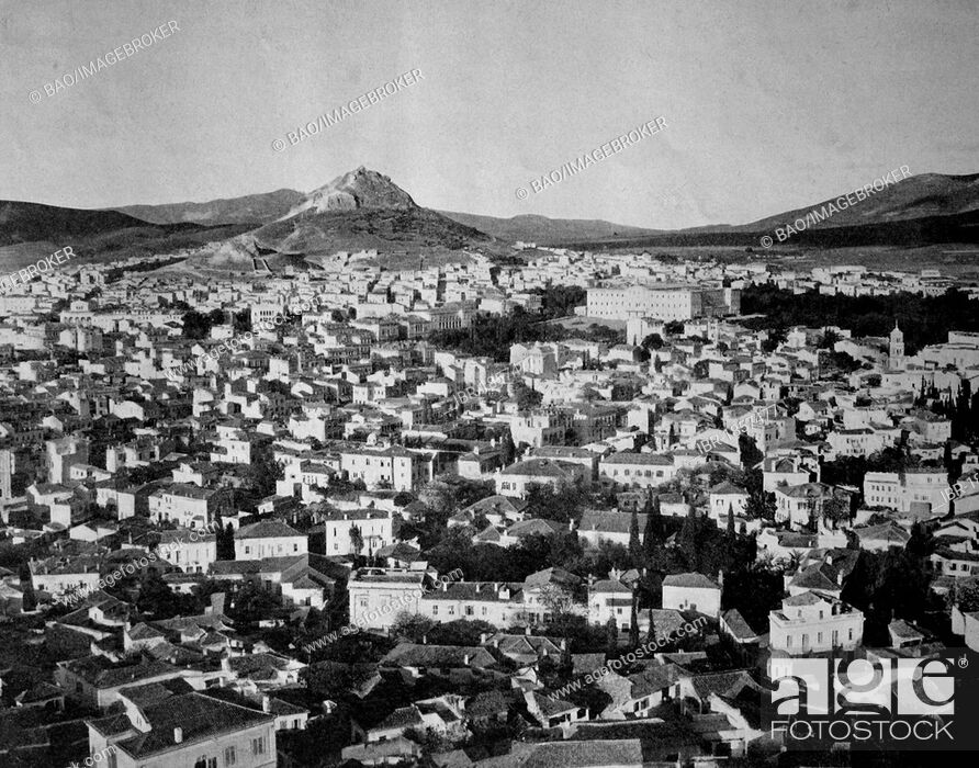 Imagen: One of the first autotypes of Athens, seen from the Acropolis, Greece, historical photograph, 1884.