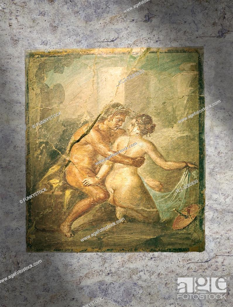 Stock Photo: A Roman erotic fresco painting from Pompeii, Naples National Archaeological, 1st cent AD , Secret Museum or Secret Cabinet,.
