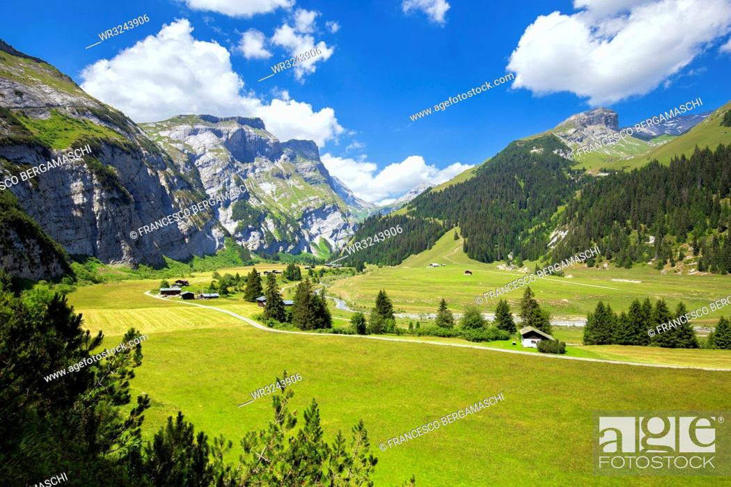 Stock Photo: Elevated view of Val Bargis valley in the summer, Flims, District of Imboden, Canton of Grisons (Graubunden), Switzerland, Europe.